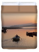 Sunset At Rosdohan Pier Near Sneem Duvet Cover