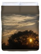 Sunset At The Oasis Duvet Cover by Joan Carroll