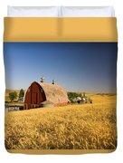 Sunset Barn And Wheat Field Steptoe Duvet Cover