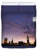 Sunset Behind Big Ben And The Houses Duvet Cover