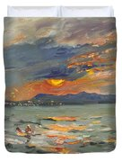 Sunset In Aegean Sea Duvet Cover