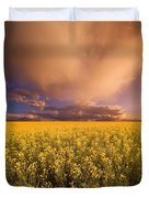 Sunset On A Canola Field Duvet Cover