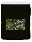Sunset On A Lily Pond Duvet Cover