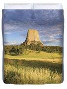 Sunset On Devils Tower Wyoming United Duvet Cover