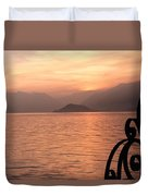 Sunset On Lake Como Duvet Cover