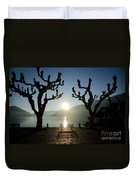 Sunset Over A Lake With Trees Duvet Cover