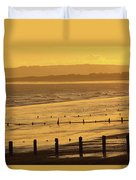 Sunset Over Beach In Winter Youghal Duvet Cover