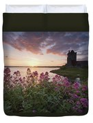 Sunset Over Dunguaire Castle, Kinvara Duvet Cover