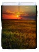 Sunset Over Field Duvet Cover