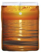 Sunset Over Ocean Horizon Duvet Cover