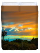 Sunset Palm Folly Beach  Duvet Cover