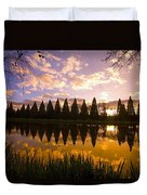 Sunset Reflection In A Park Pond Duvet Cover by Craig Tuttle