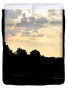 Sunset Silhouettes Over Star Lake Duvet Cover