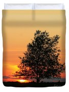 Square Photograph Of A Fiery Orange Sunset And Tree Silhouette Duvet Cover
