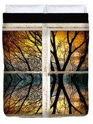 Sunset Tree Silhouette Abstract Picture Window View Duvet Cover
