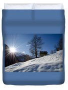 Sunshine Over The Snow Duvet Cover