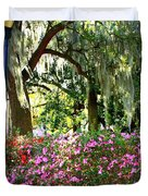 Sunshine Through Savannah Park Trees Duvet Cover