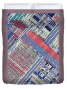 Surface Of Integrated Chip Duvet Cover by Michael W. Davidson