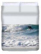 Surfers At Porthtowan Cornwall Duvet Cover