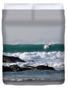 Surfing In Cornwall Duvet Cover by Brian Roscorla