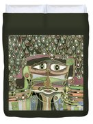 Surprize Drops Surrealistic Green Brown Face With  Liquid Drops Large Eyes Mustache  Duvet Cover