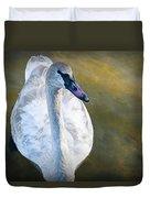 Swan On Evergreen Lake Duvet Cover