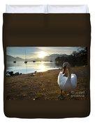 Swan On The Beach Duvet Cover