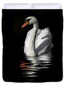 Swan Riflected In The Dark Duvet Cover