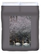 Swans At Mill Pond Yarmouth On Cape Cod Duvet Cover