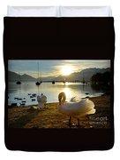 Swans In Sunset Duvet Cover