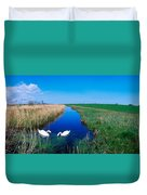 Swans On Bog, Near Newcastle, Co Duvet Cover