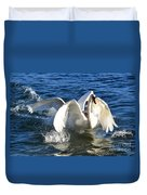 Swans Playing Duvet Cover