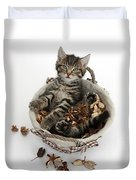 Tabby Kitten In Potpourri Basket Duvet Cover