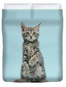 Tabby Kitten Sitting Up Duvet Cover