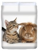 Tabby Kitten With Rabbit Duvet Cover