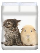 Tabby Kitten With Yellow Guinea Pig Duvet Cover