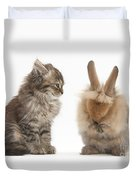 Tabby Kitten With Young Rabbit, Grooming Duvet Cover