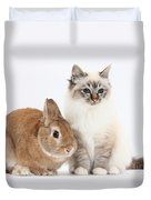 Tabby-point Birman Cat And Rabbit Duvet Cover