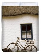 Tahtched Cottage And Bike Duvet Cover