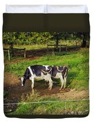 Tail Of Two Cows Duvet Cover