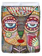 Talavera Feather Owl Drinking Red Wine S Duvet Cover