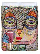 Talavera Pink Owl Drinking Red Wine Duvet Cover