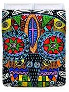 Talavera Sugar Skull Owl Duvet Cover