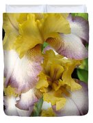 Tall Bearded Iris Named Butterfingers Duvet Cover