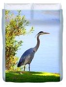 Tall Grey Heron Duvet Cover