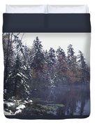 Tall Pines By A Lake Duvet Cover by David Chapman