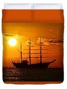 Tall Ship At Sunset Duvet Cover
