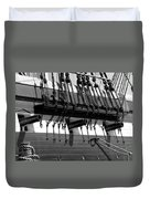 Tall Ship Canons Black And White Duvet Cover