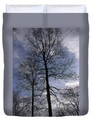 Tall Silhouetted Trees Duvet Cover