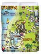 Tampa Florida Cartoon Map Duvet Cover